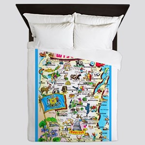 Wisconsin Map Greetings Queen Duvet