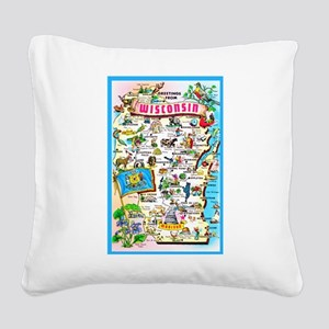Wisconsin Map Greetings Square Canvas Pillow