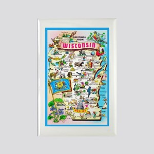 Wisconsin Map Greetings Rectangle Magnet