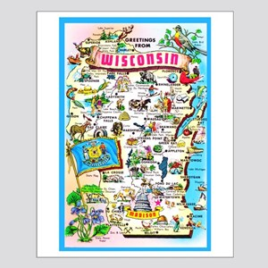 Wisconsin Map Greetings Small Poster