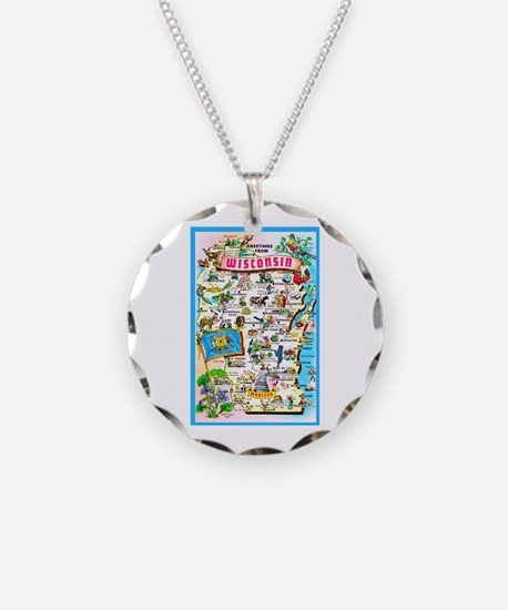 Wisconsin Map Greetings Necklace