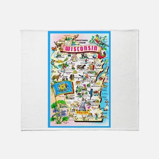 Wisconsin Map Greetings Throw Blanket