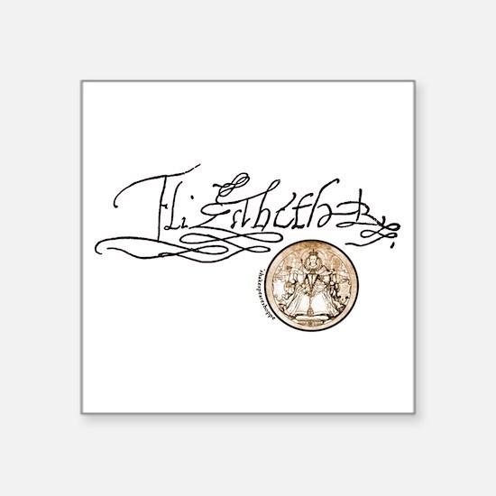 """Elizabeth2-Signature-hat.jpg Square Sticker 3"""" x 3"""