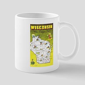 Wisconsin Map Greetings Mug