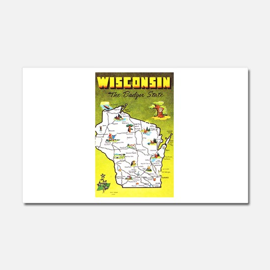 Wisconsin Map Greetings Car Magnet 20 x 12