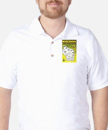 Wisconsin Map Greetings Golf Shirt