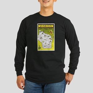 Wisconsin Map Greetings Long Sleeve Dark T-Shirt