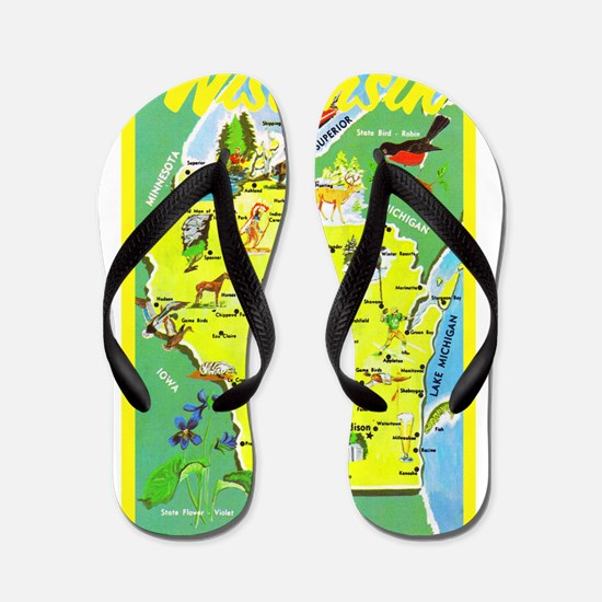 Wisconsin Map Greetings Flip Flops