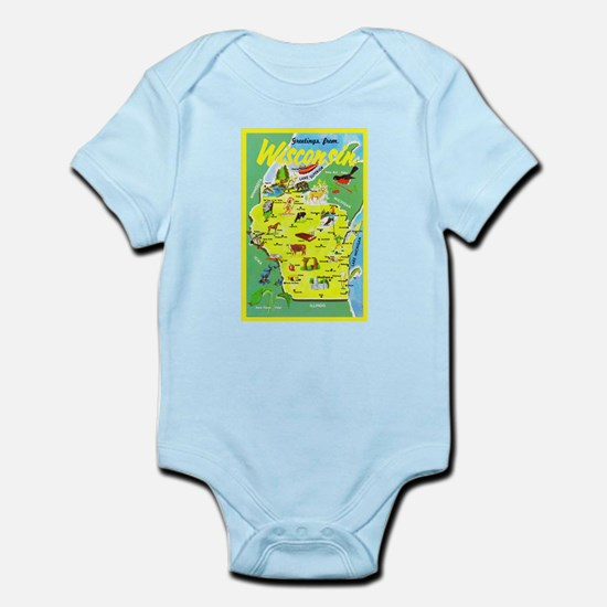 Wisconsin Map Greetings Infant Bodysuit