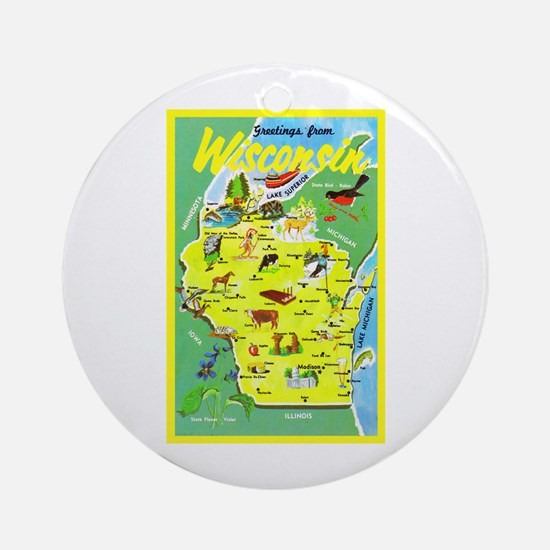 Wisconsin Map Greetings Ornament (Round)