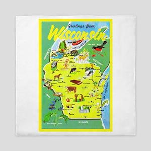 Wisconsin Map Greetings Queen Duvet