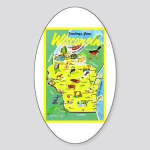 Wisconsin Map Greetings Sticker (Oval)