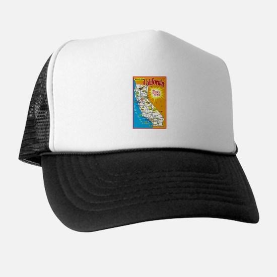 California Map Greetings Trucker Hat