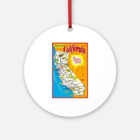 California Map Greetings Ornament (Round)