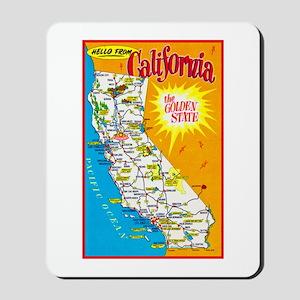 California Map Greetings Mousepad