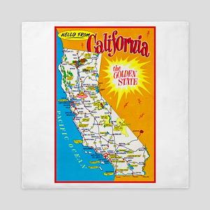 California Map Greetings Queen Duvet