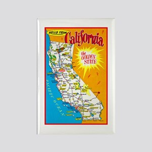 California Map Greetings Rectangle Magnet
