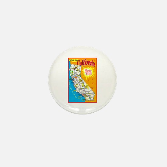 California Map Greetings Mini Button