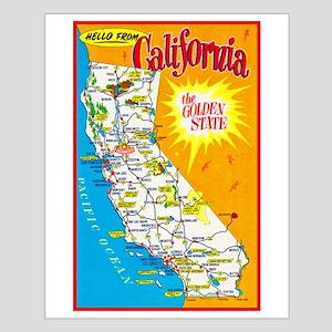 California Map Greetings Small Poster