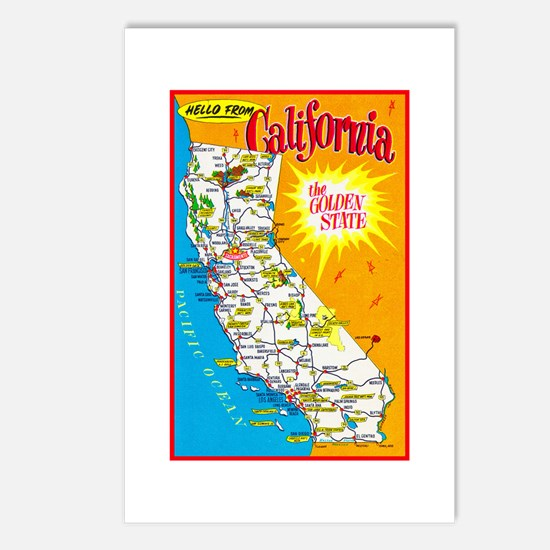 California Map Greetings Postcards (Package of 8)
