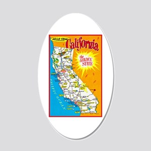 California Map Greetings 20x12 Oval Wall Decal