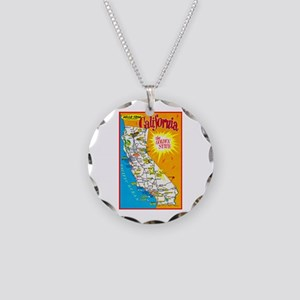 California Map Greetings Necklace Circle Charm