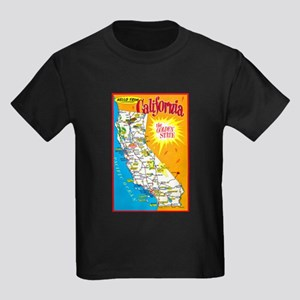 California Map Greetings Kids Dark T-Shirt
