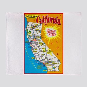 California Map Greetings Throw Blanket