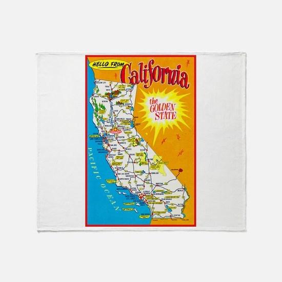 California Map Greetings Throw Blanket