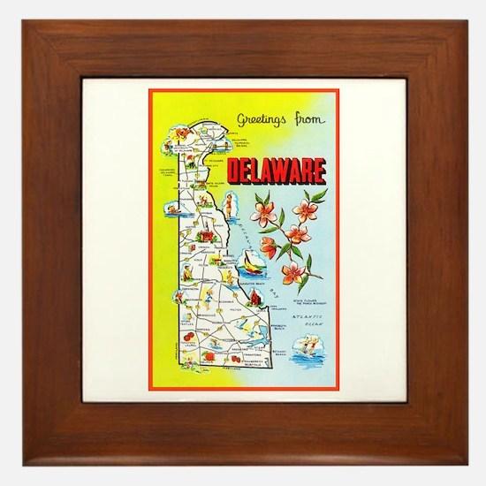 Delaware Map Greetings Framed Tile