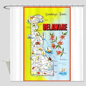 Delaware Map Greetings Shower Curtain