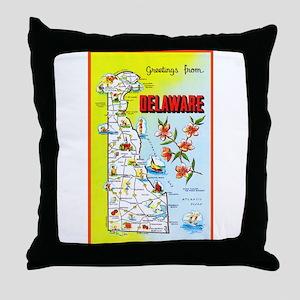 Delaware Map Greetings Throw Pillow