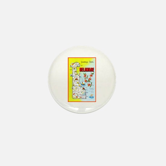 Delaware Map Greetings Mini Button