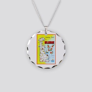 Delaware Map Greetings Necklace Circle Charm