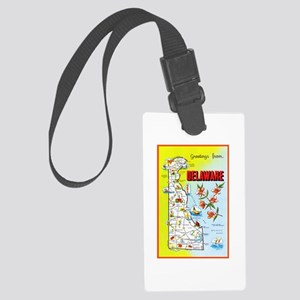 Delaware Map Greetings Large Luggage Tag
