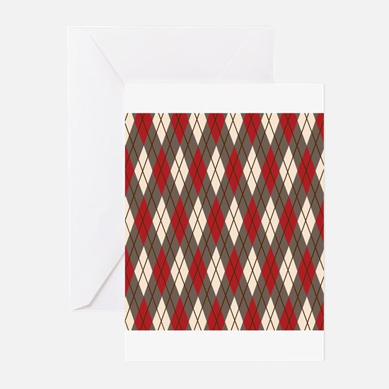 Argyle Red Gray Greeting Cards (Pk of 20)