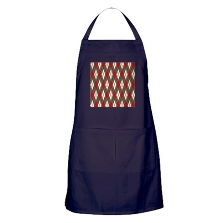 Argyle Red Gray Apron (dark)