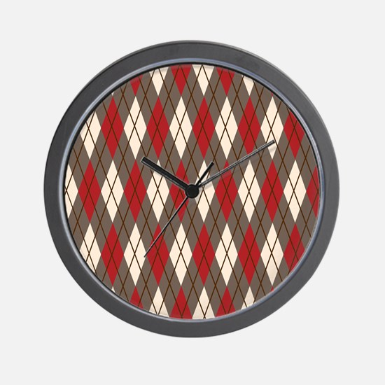Argyle Red Gray Wall Clock