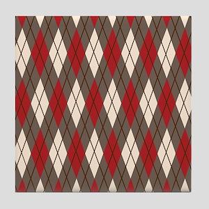 Argyle Red Gray Tile Coaster