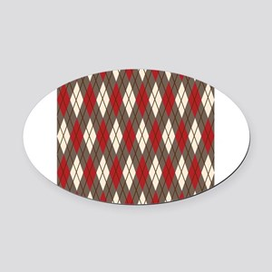 Argyle Red Gray Oval Car Magnet
