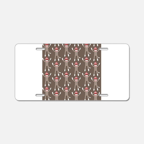 Grey Sock Monkey Print Aluminum License Plate
