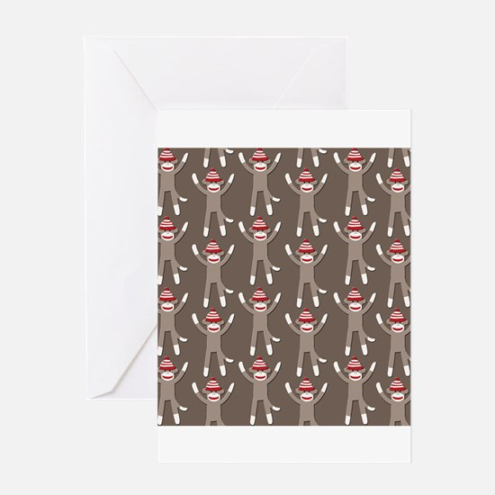 Grey Sock Monkey Print Greeting Card