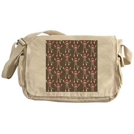 Grey Sock Monkey Print Messenger Bag