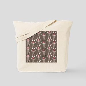 Grey Sock Monkey Print Tote Bag