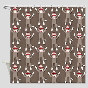 Grey Sock Monkey Print Shower Curtain