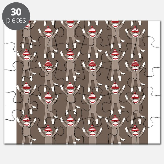 Grey Sock Monkey Print Puzzle