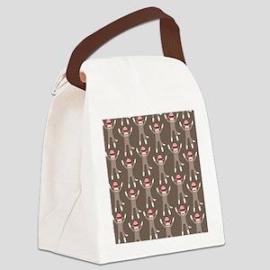 Grey Sock Monkey Print Canvas Lunch Bag