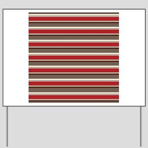 Red Gray Brown Horizontal Stripes Yard Sign