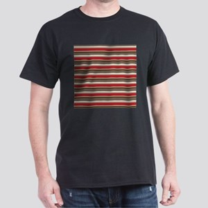 Red Gray Brown Horizontal Stripes Dark T-Shirt