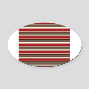Red Gray Brown Horizontal Stripes Oval Car Magnet